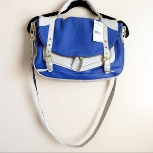 Steve Madden• blue grey faux leather satchel bag